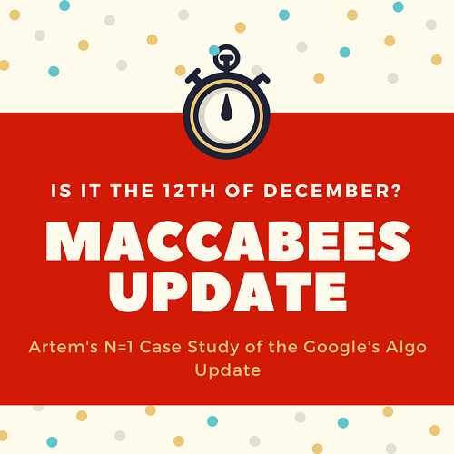Maccabees Google Update: My N=1 Case Study